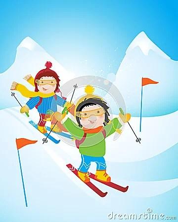 Girl And Boy Cartoon Wallpaper Kids Skiing Stock Image Image 7024591