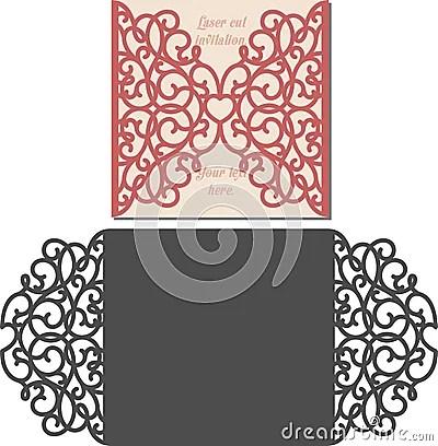 Laser Cut Envelope Template For Invitation Wedding Card Vector