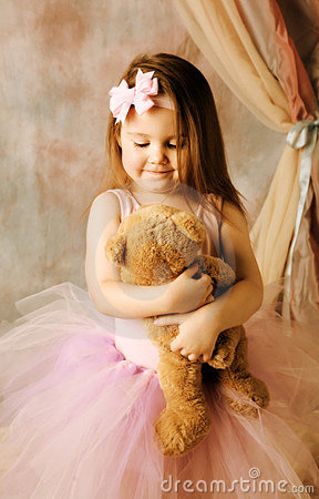 Cute Alone Girls Wallpapers Little Ballerina Beauty Hugging Teddy Bear Royalty Free