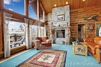 Log Cabin Living Room Royalty Free Stock Image - Image ...