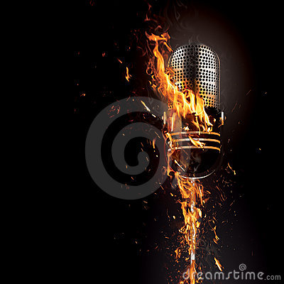 3d Wallpaper Fire Microphone On Fire Royalty Free Stock Photography Image
