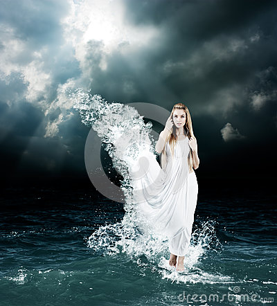 3d All Animal Wallpaper Mystic Goddess In Stormy Sea Royalty Free Stock Photos