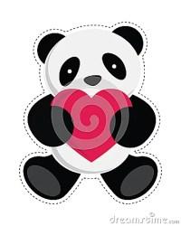 Panda Bear Holding Heart. Stock Image - Image: 34925541