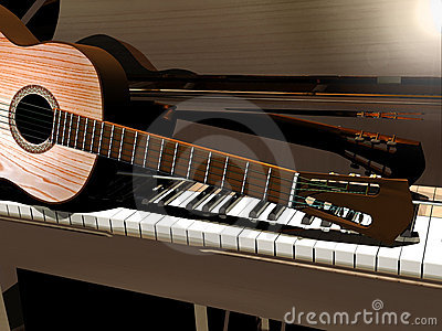 3d Guitar Wallpaper Piano And Guitar Stock Images Image 20605644