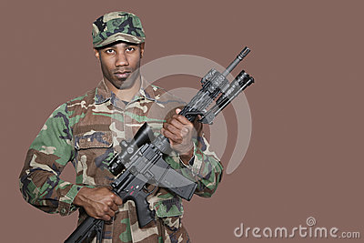 Portrait of african american us marine corps soldier