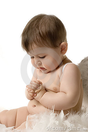 Little Cute Girl Wallpaper Praying Baby Angel Stock Image Image 14295921