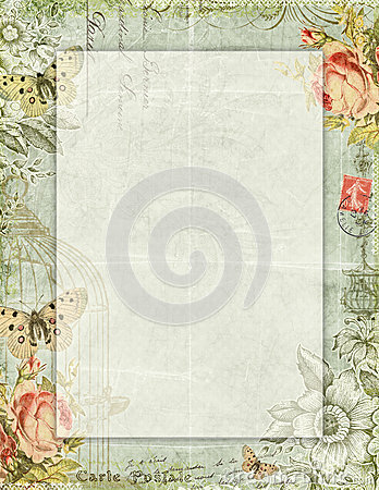 Printable Vintage Shabby Chic Style Floral Stationary With