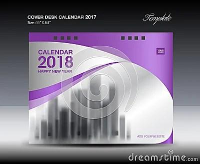 Purple Cover Desk Calendar 2018 Design, Flyer Template Cartoon