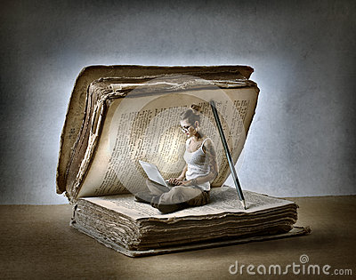 3d Art Girl Wallpaper Reading A Book Stock Photo Image 46742425