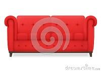 Red Leather Luxury Vintage Living Room Sofa. Single Vector ...