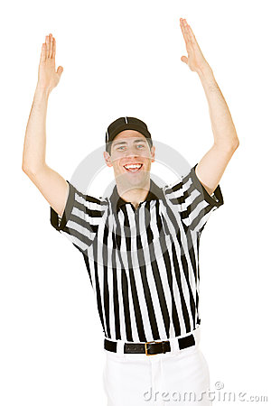 Referee referee signals a touchdown stock photo image