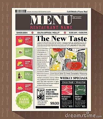 Restaurant Business Plan Template Restaurant Menu Design Template In Newspaper Style Stock