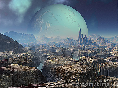 3d Summer Wallpaper Ruins Of Ancient Alien City Royalty Free Stock Images