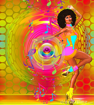 Afro Girl Wallpaper Sexy Retro Disco Dancer With Afro Stock Illustration