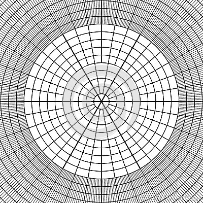 Sheet Of Polar Graph Paper Shows Wear On Edges And Discoloration