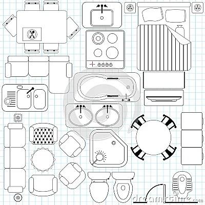 Simple Furniture Floor Plan Royalty Free Stock Image