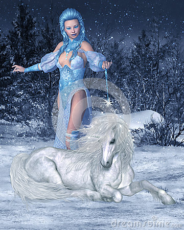 Beautiful Wallpapers 3d Animation Snow Fairy And Unicorn Stock Illustration Image 47510848