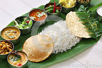 Gulab 3d Wallpaper Download South Indian Meals Served On Banana Leaf Stock Photo