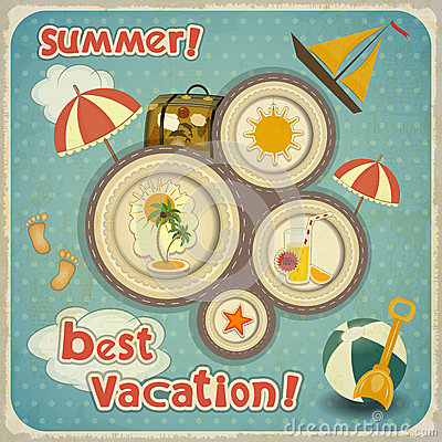 Summer vacation card in vintage style royalty free stock