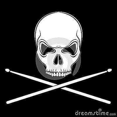 Danger 3d Wallpaper Vector Jolly Roger Skull With Drumsticks Stock Photos