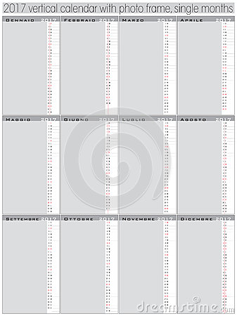 Vertical Days Calendar 2017 Template Cartoon Vector CartoonDealer