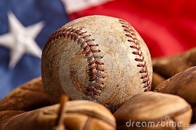 Leaves Wallpaper Fall Vintage Baseball Glove And American Flag Stock