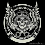 Vintage Biker Skull With Wings Pistons Emblem Stock Vector Image