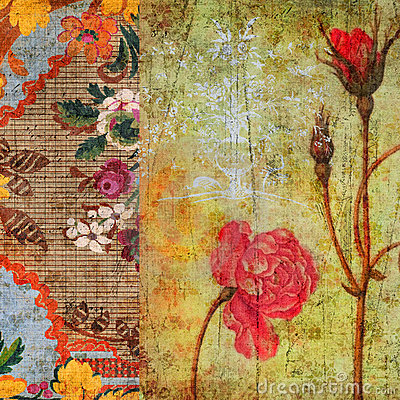 Fall Wallpaper Themes Vintage Floral Grunge Scrapbook Background Stock Image