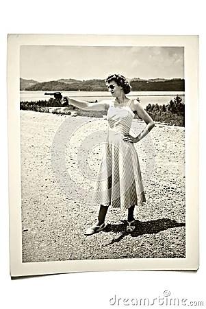 Retro Girl Wallpaper Vintage Photo Woman With Gun Royalty Free Stock Images