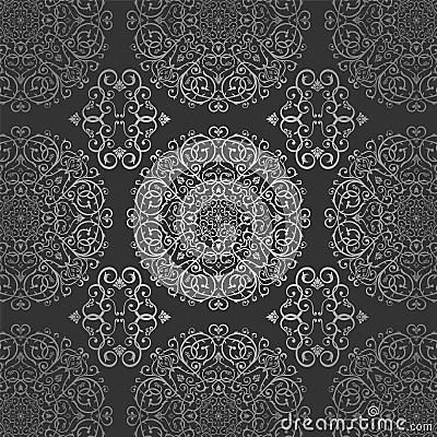 Black Damask Wallpaper Wallpaper Arabic Batik Circle Floral Dark Silver Pattern