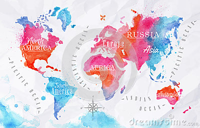 Cute Watercolor Wallpaper Watercolor World Map Pink Blue Stock Vector Image 45280312