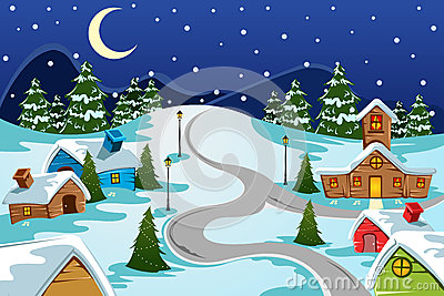Free Animated Snow Fall Wallpaper Winter Village Stock Photos Image 33779823