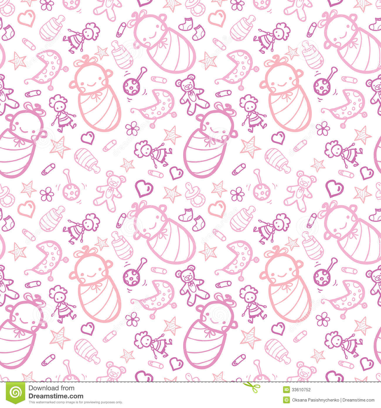 Cute Patterns For Wallpapers 女婴无缝的样式背景 图库摄影 图片 33610752