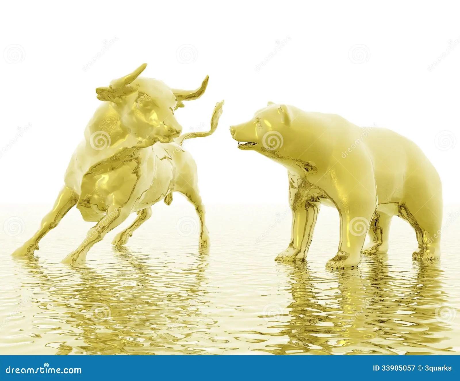 Gold 3d Wallpaper 牛市与熊市 免版税图库摄影 图片 33905057