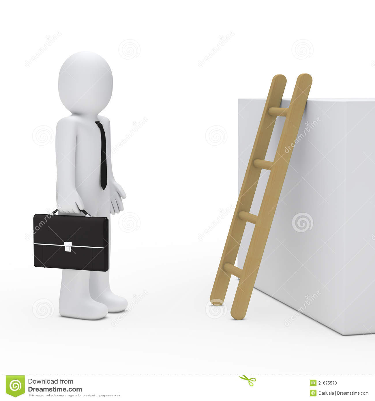 3d Business Man Before Ladder Stock Photos Image 21675573
