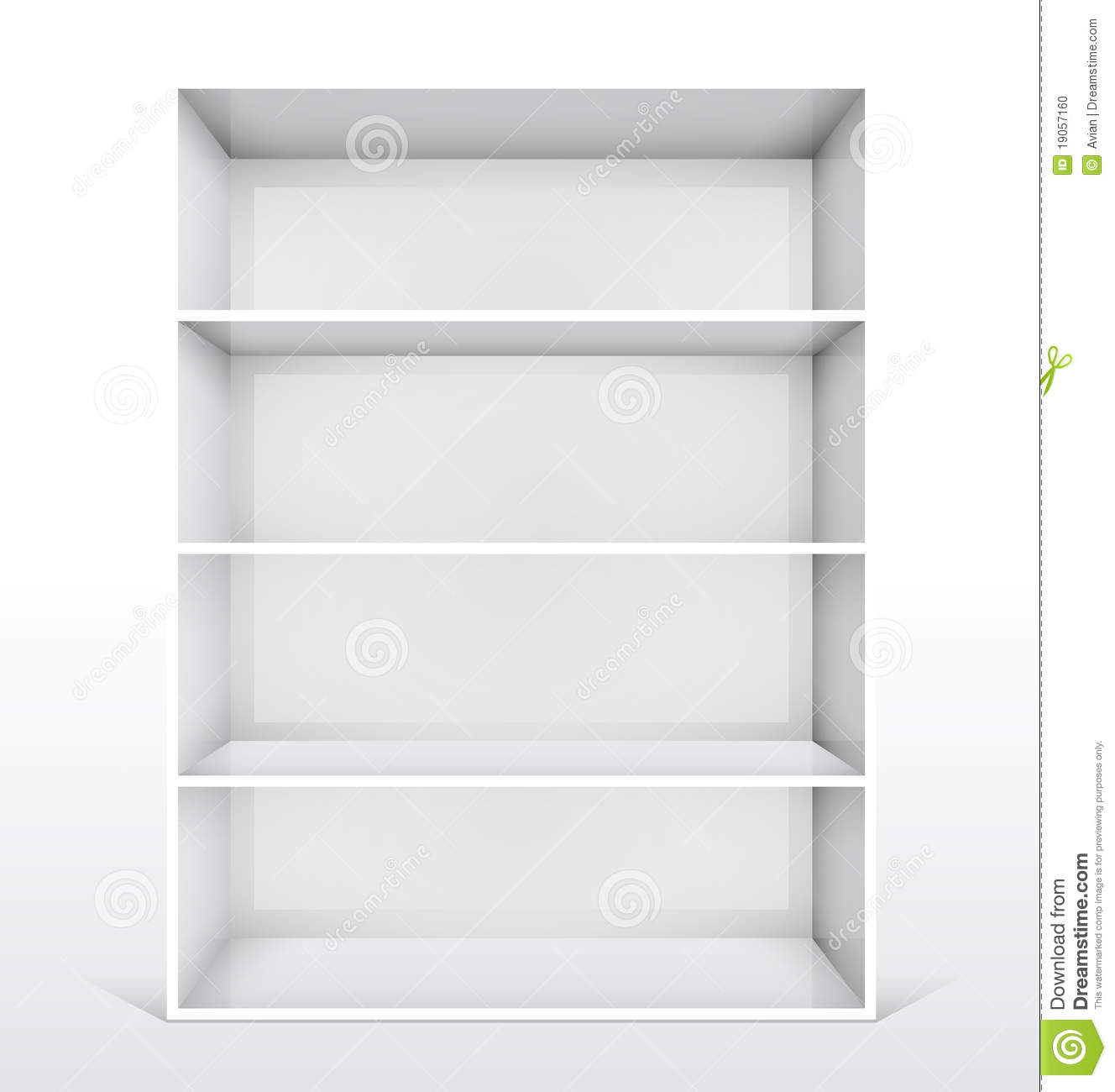 White Wall Book Rack 3d Isolated Empty White Bookshelf Stock Photo Image
