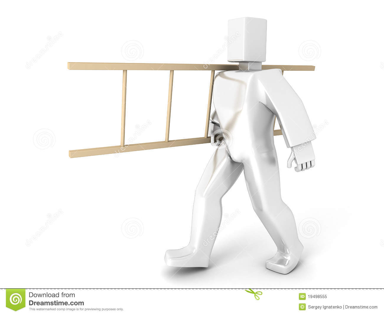 3d Man Carry Ladder Stock Illustration Illustration Of