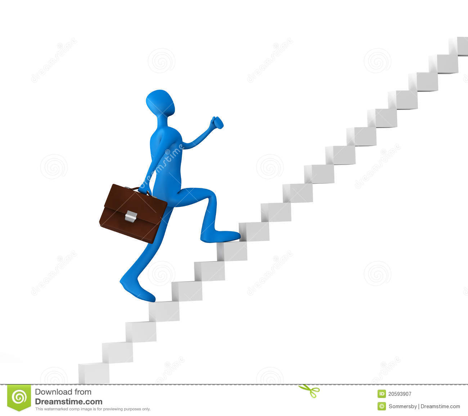 3d Man Climbing The Ladder Stock Illustration
