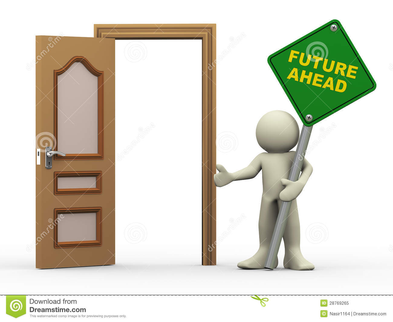 3d Open 3d Man Open Door And Future Ahead Sign Stock Illustration