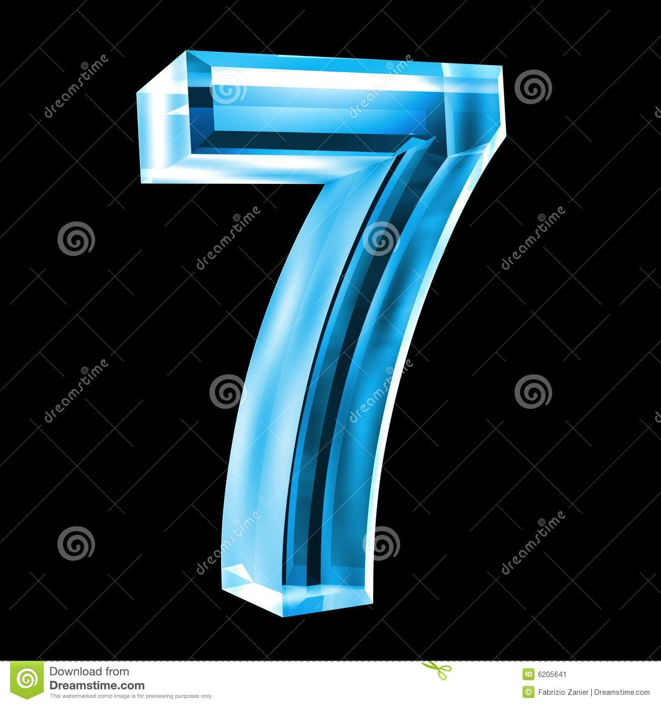 7 3d Number 7 In Blue Glass Stock Illustration Image Of