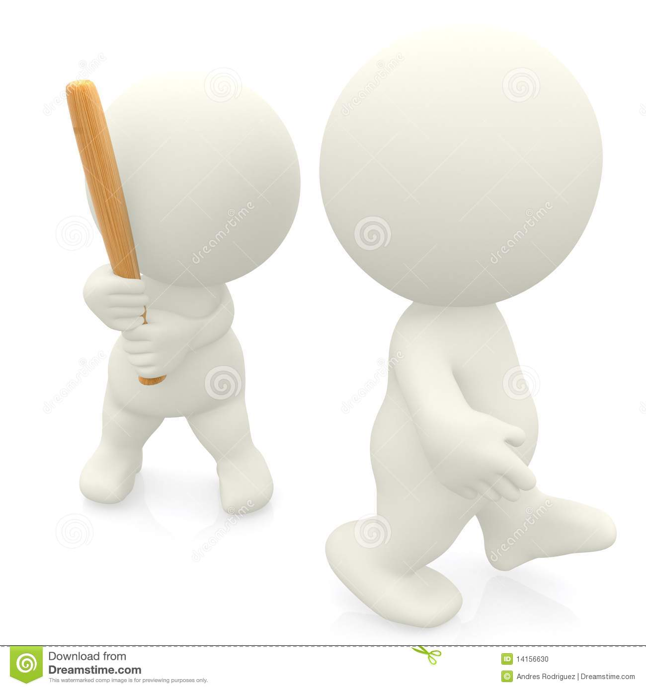 Graphic Stock Free Trial 3d Person Hitting Another One With A Bat Stock