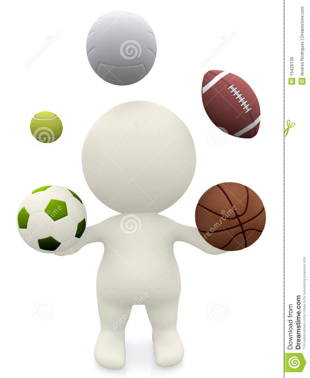 Graphic Stock Free Trial 3d Person Juggling With Sport Balls Stock Illustration