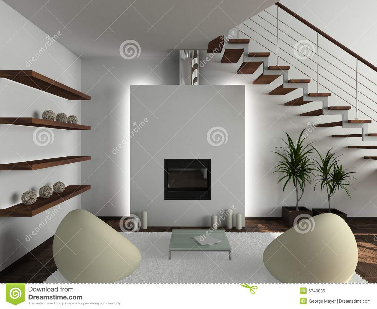 3d Wallpapers For Home Interiors 3d Render Modern Interior Of Living Room Royalty Free