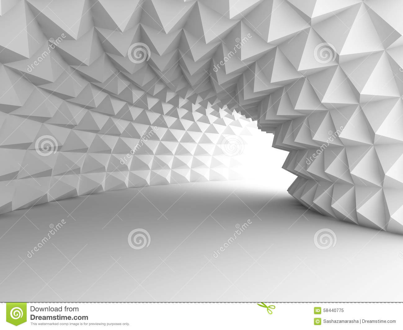 Wallpaper Illusion 3d Abstract Architecture Tunnel With Light Background Stock