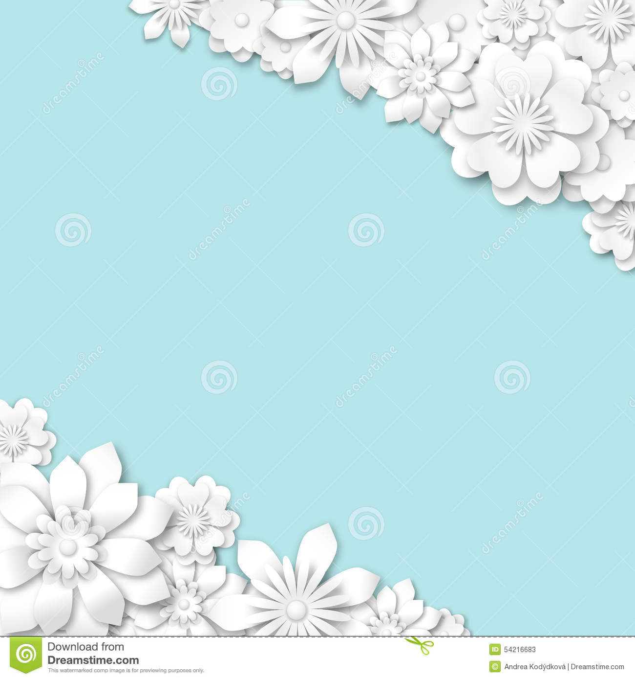 As Royal Decor 3d Wallpaper Abstract Blue Wedding Background With White 3d Flowers