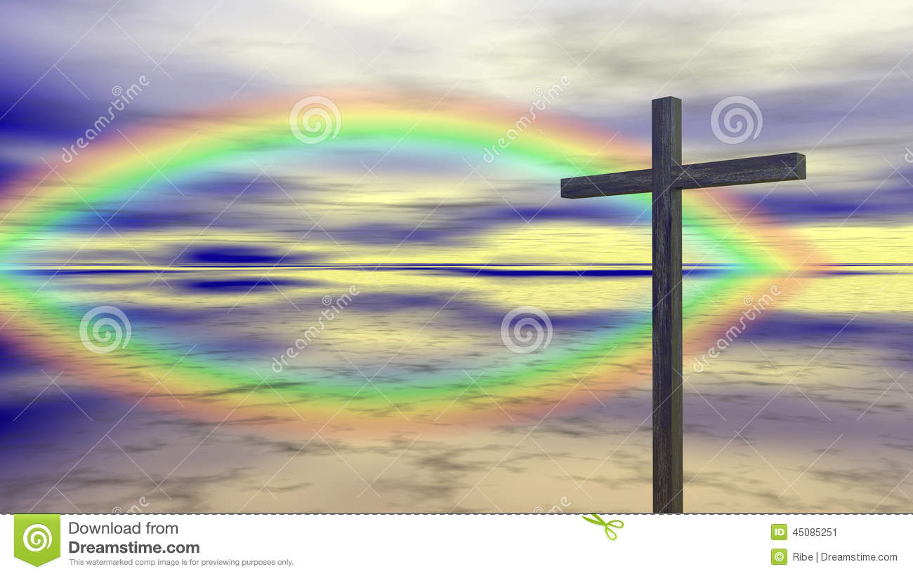 Atheist Quotes Wallpaper Religion Cross Rainbow Stock Illustration Image