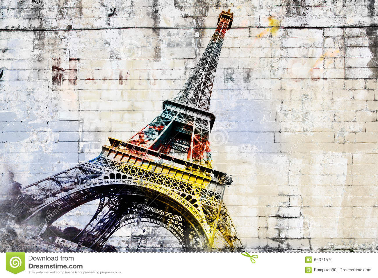 Art Paris Abstract Digital Art Of Eiffel Tower In Paris Street Art