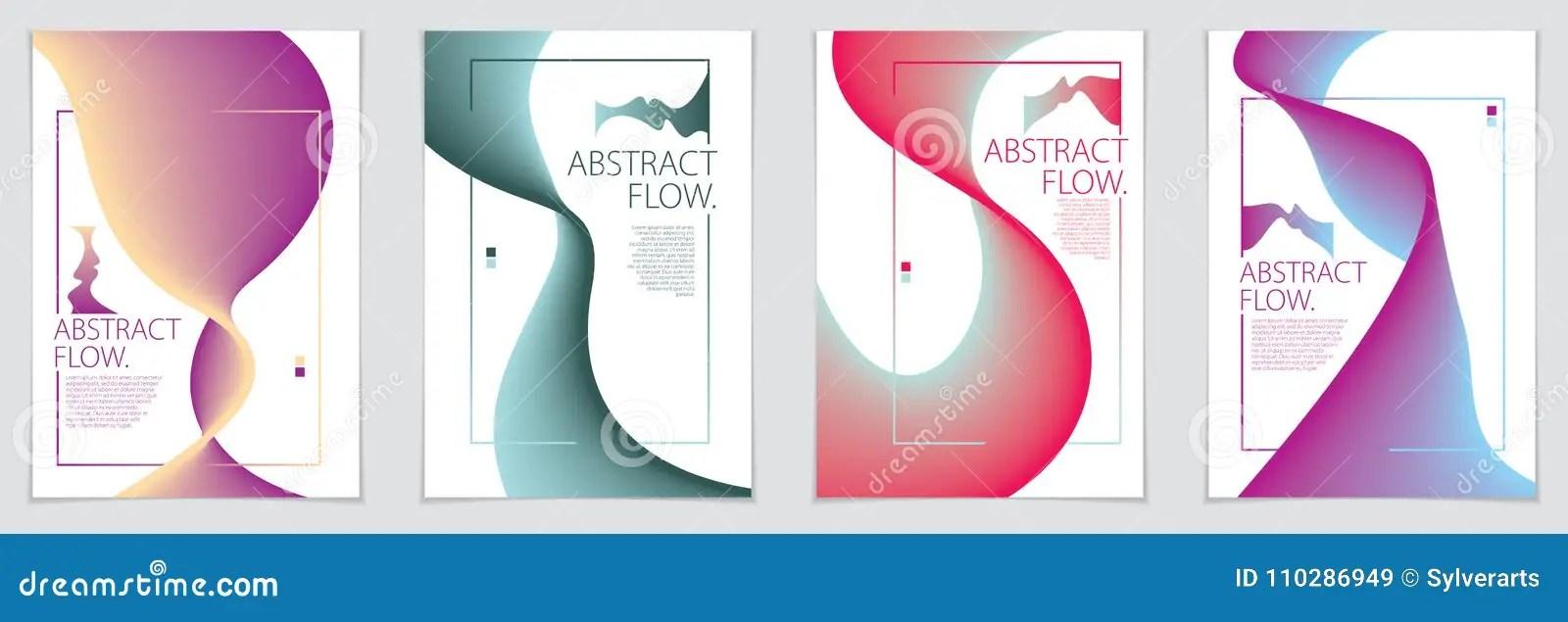 Abstract Flow Fluid Shape Vector Backgrounds Set A4 Print Format