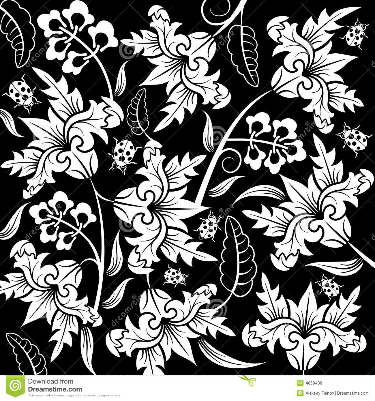 Wallpaper Black And White Damask Abstract Flower Pattern Royalty Free Stock Photos Image