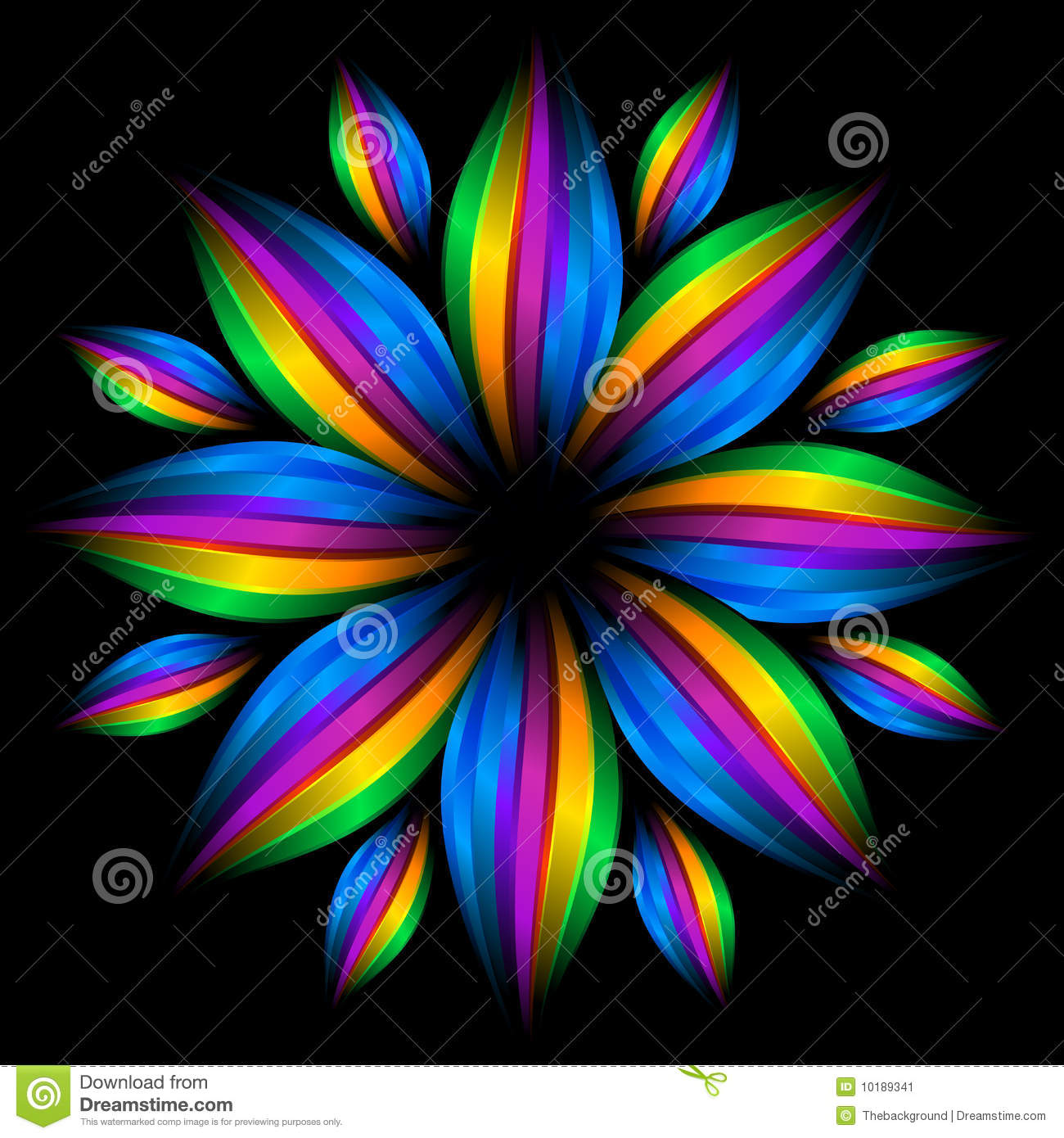3d Rainbow Psychedeli Wallpaper Abstract Futuristic Rainbow Flower Stock Illustration